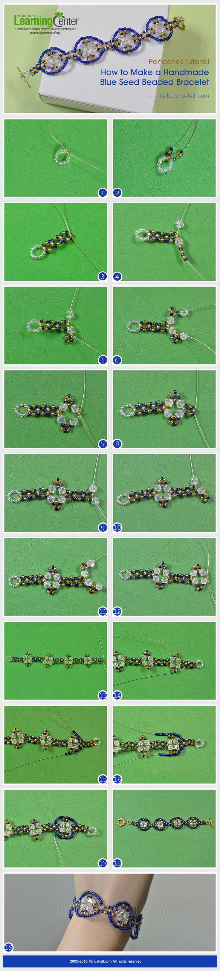 Tutorial on How to Make a Handmade Blue Seed Beaded Bracelet from LC.Pandahall.com