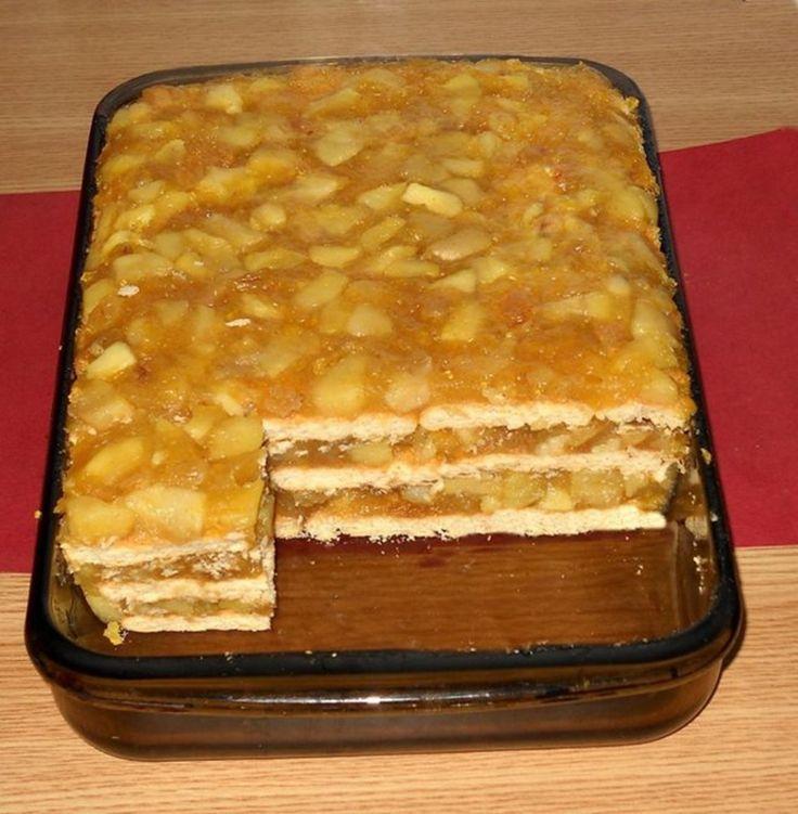 Prajitura cu mere, biscuiti si budinca (fara coacere)