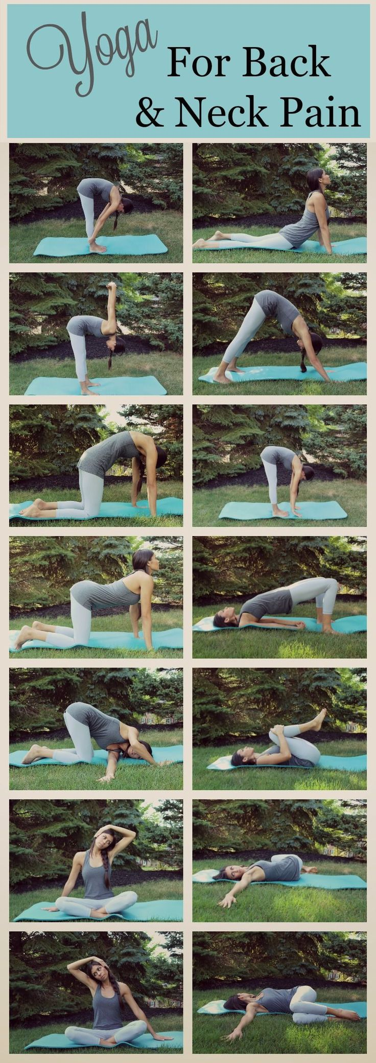 Repin to save these poses for later!  Give these Yoga poses a try if you are experiencing back or neck pain.  These are some of my favorite poses when I am feeling sore or achy in my neck and back. http://whymattress.com/how-to-choose-the-best-mattress-for-back-pain/