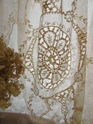 74 X 36 Quot Antique Tambour French Net Lace Curtain Panel