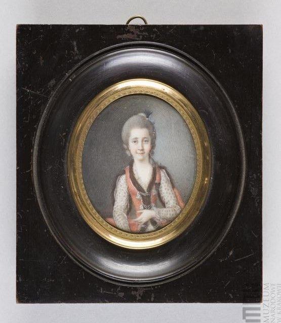 Portret Damy w stylizowanym stroju polskim
