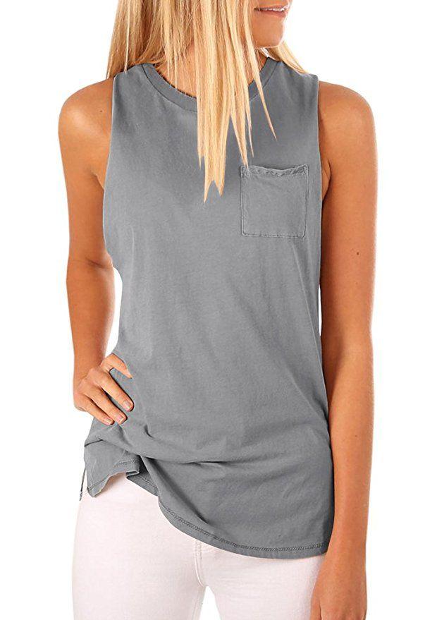 Womens O Neck Tank Tops Sleeveless Henley Shirts Long Tunic Tees High Low Vest Top Shirts Blouses