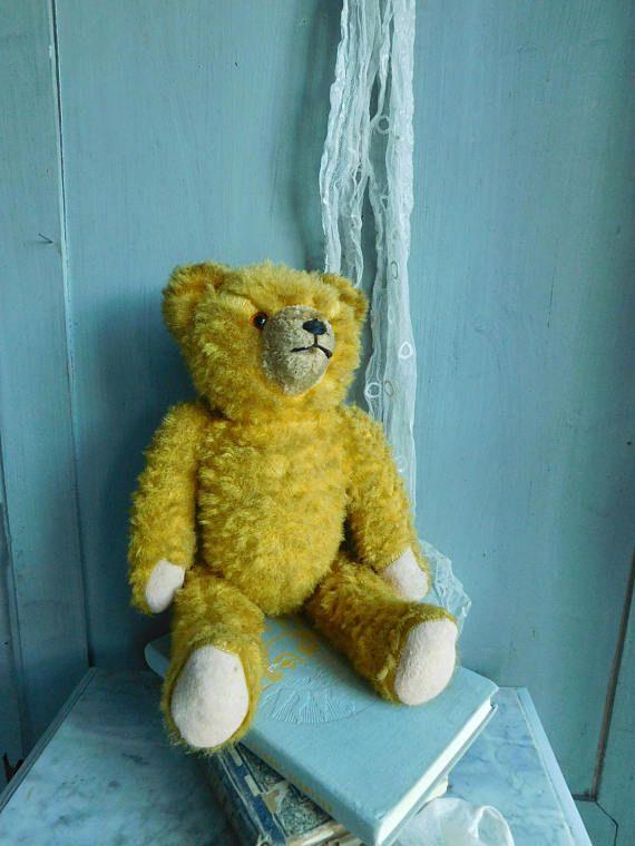 Vintage teddy bear  Teddy bear with growler  Mohair teddy bear