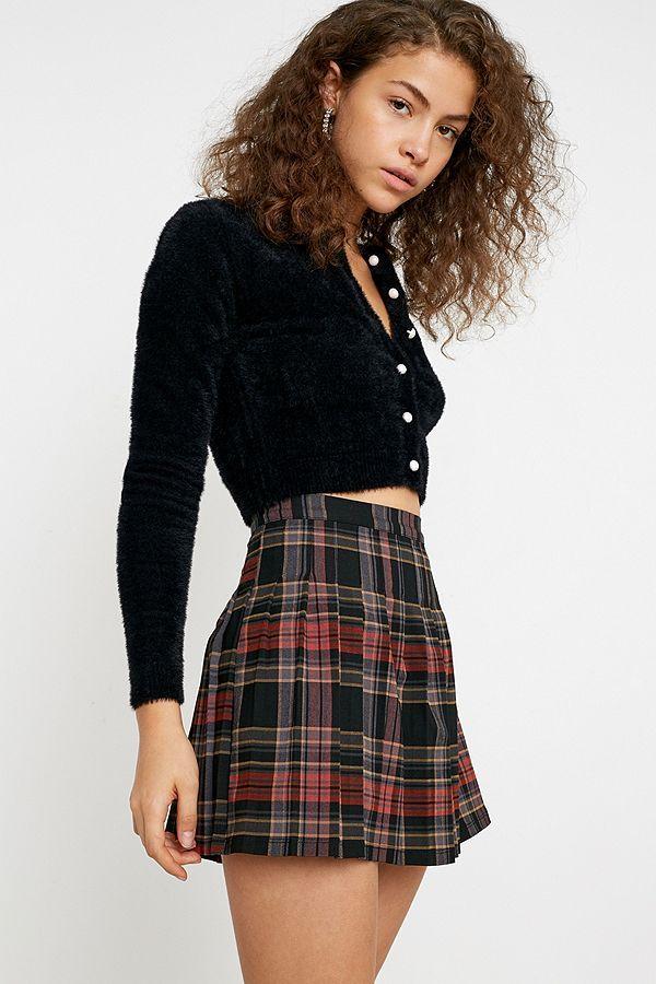 Uo Brown Check Pleated Mini Skirt Mini Skirts Plaid Pleated Mini Skirt Pleated Mini Skirt