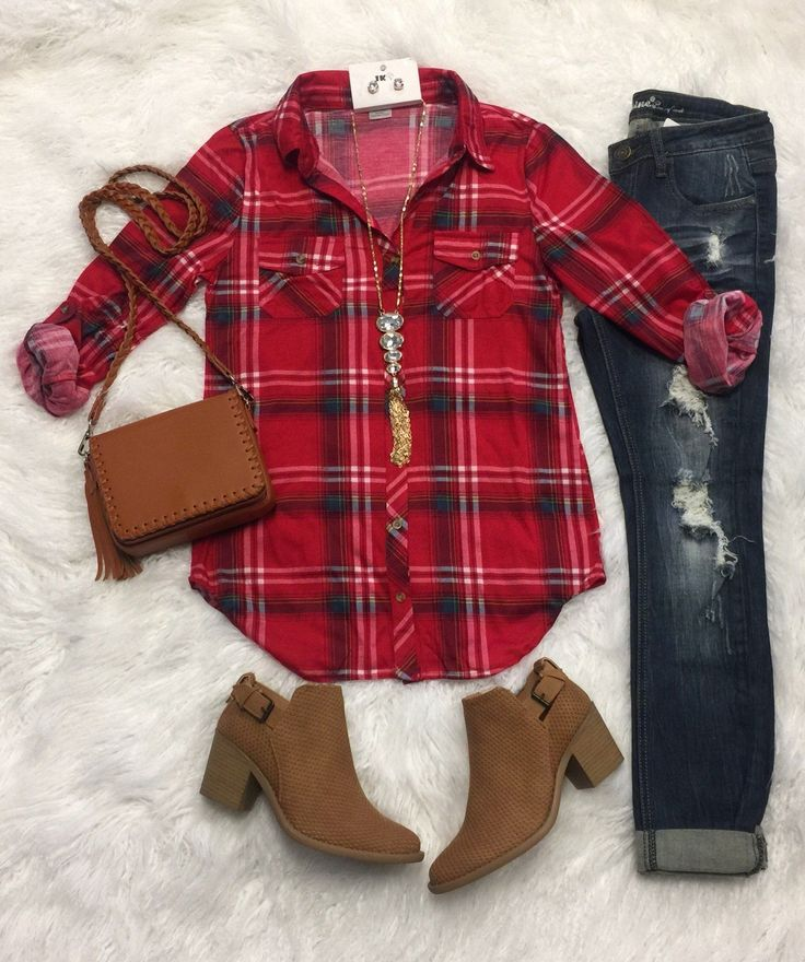 Penny Plaid Flannel Top in ruby red with jeans. Perfect for fall.
