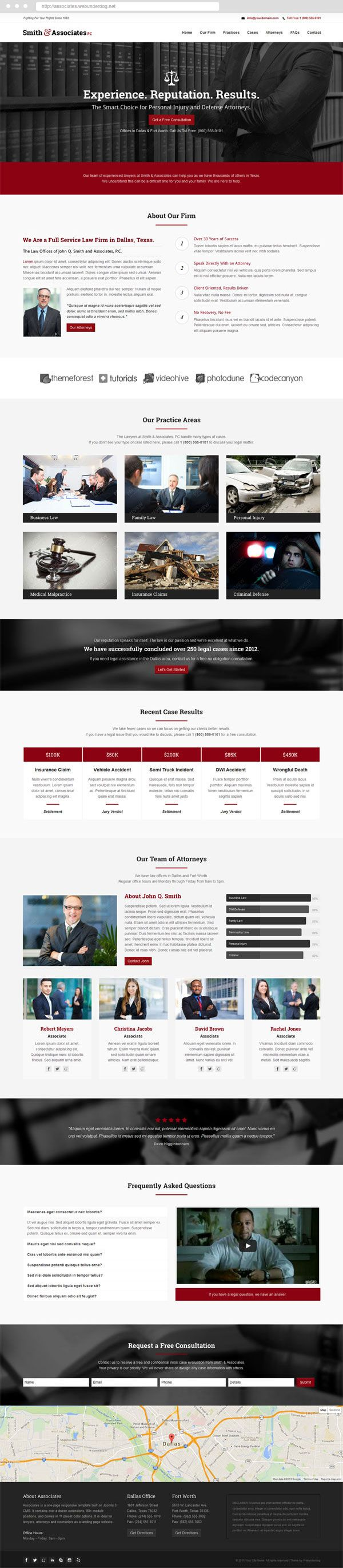 Joomla Lawyer Template - Associates - #Lawyer & #Attorney One Page Responsive #webdesign. #joomla #template #themeforest #landingpage #onepage #inspiration #law