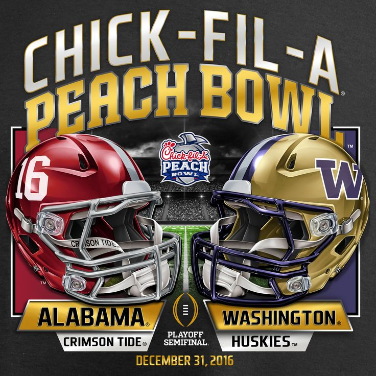 Fanatics Branded Alabama Crimson Tide vs. Washington Huskies Black College Football Playoff 2016 Peach Bowl Bound Lateral Pullover Hoodie