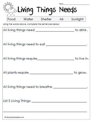 Science worksheets living vs. non-living