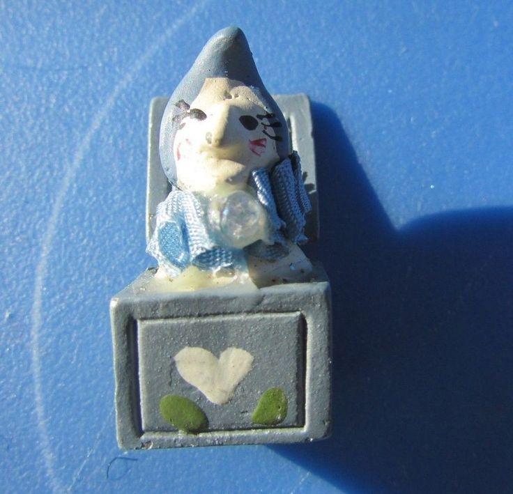 Vintage Dollhouse Artisan Joker Clown Jack In Box Blue with Heart Artist Pewter  #unknown