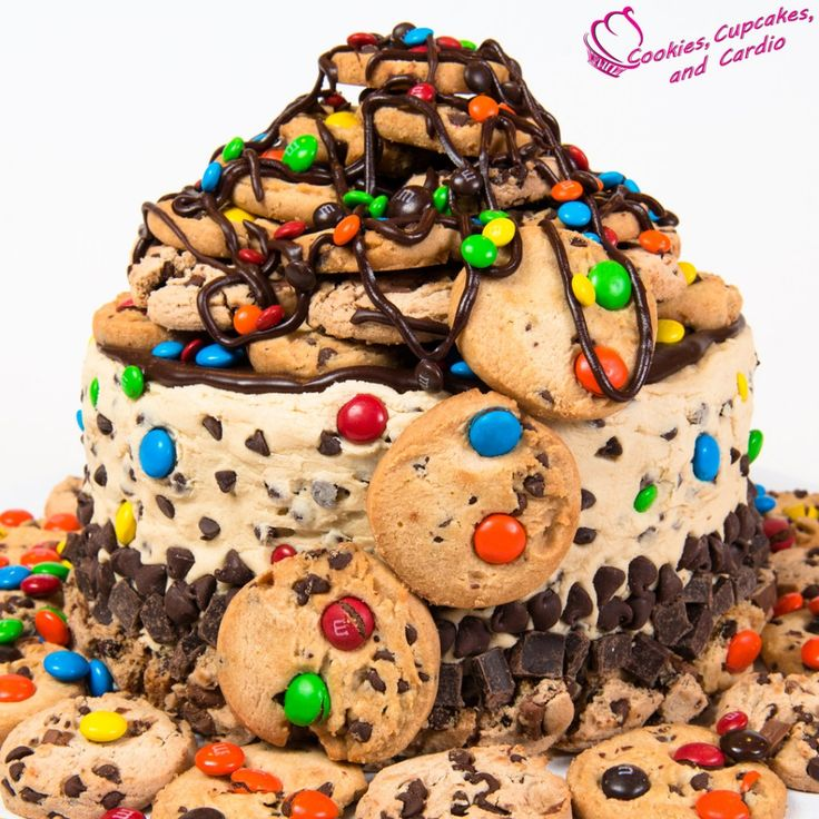 Cookie Mountain Cake with Chocolate Chip Cookie Dough Frosting from Cookies Cupcakes and Cardio