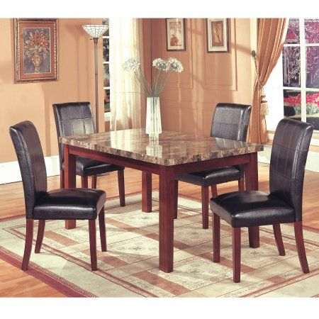 home source siena brown faux marble dining room table
