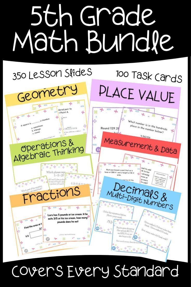 5th Grade Math Mega Bundle Full Year Of Lesson Slides And Task Cards Math Bundle 5th Grade Math Common Core Math Standards [ 1102 x 735 Pixel ]