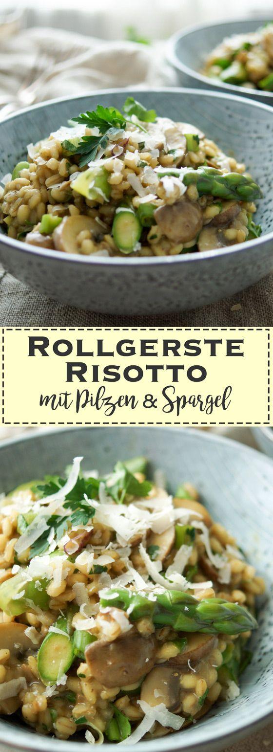 Ein einfaches Rezept für ein leckeres Rollgerste-Risotto mit Pilzen (trockenen Steinpilzen und frischen Crimini Pilzen). Dazu saisongerecht frischer, grüner Spargel. Für Veganer und Vegetarier auch geeignet. Dann allerdings ohne Butter und Parmesan und mit Gemüsebrühe. Zusammen mit den trockenen Steinpilzen, den frischen Crimini Pilzen (Brauner Champignon) und einem knackigen Spargel könnt Ihr Euch auf viele Aromen freuen. Gesunde Rezepte - Elle Republic