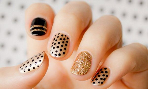 Gold black holidays polka dot