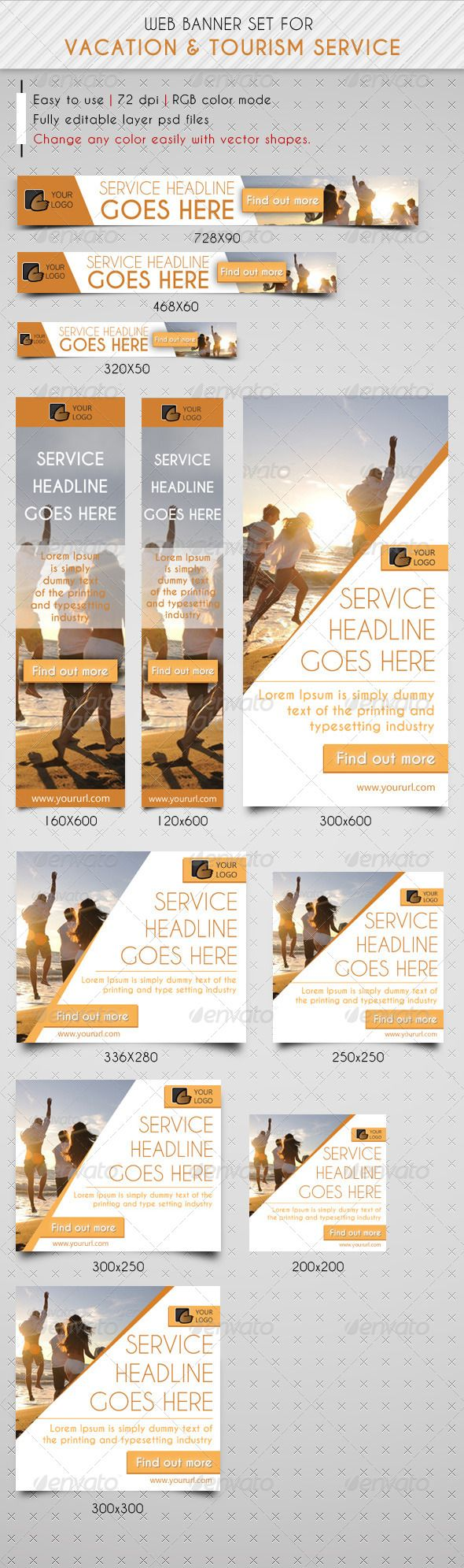 Travel & Vacation Web Banner Ads - Banners & Ads Web Elements