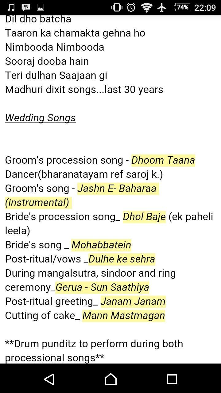 Indian Wedding Songs Weddings Hindu