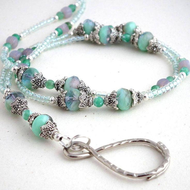 Beaded Lanyard - Seafoam Green Czech Glass Faceted Rondels. Decorative Silver Pewter Bead Caps - Plum Beadacious