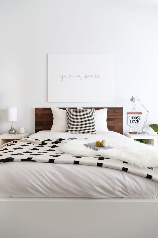 Bedroom. Decor. Black and White. Bed. Pillows. Throw. Home. Design. Interior.