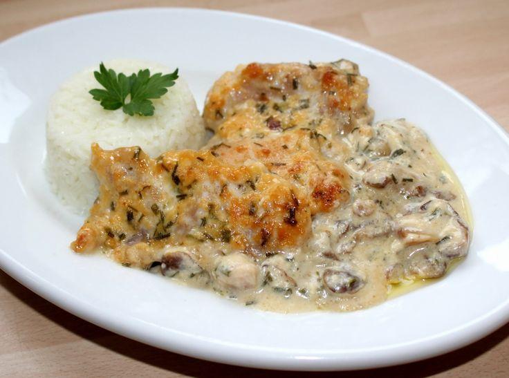 Sajtkrémes-gombás csirke recept