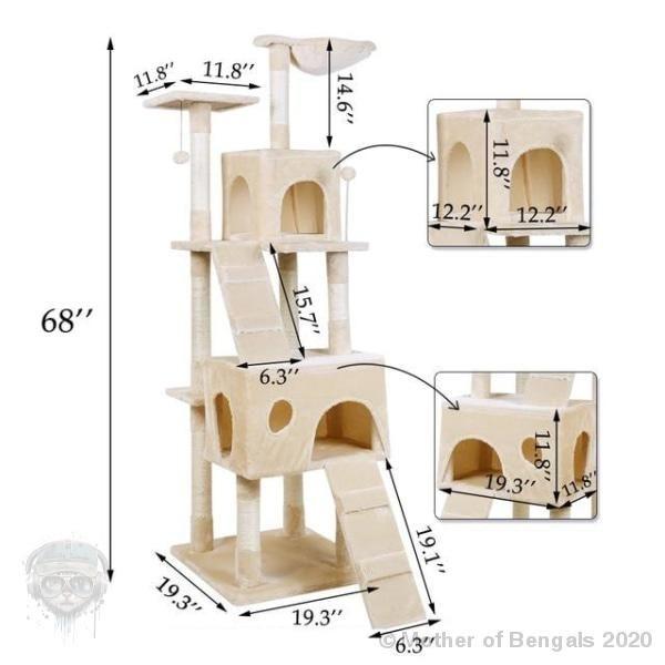 Plush Kitty Climber Luxury Cat Tree Wooden Cat House Cat Tree