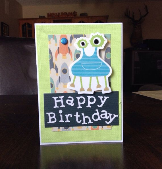 Hand made boys Happy Birthday alien card. by missbrightest on Etsy, $5.00