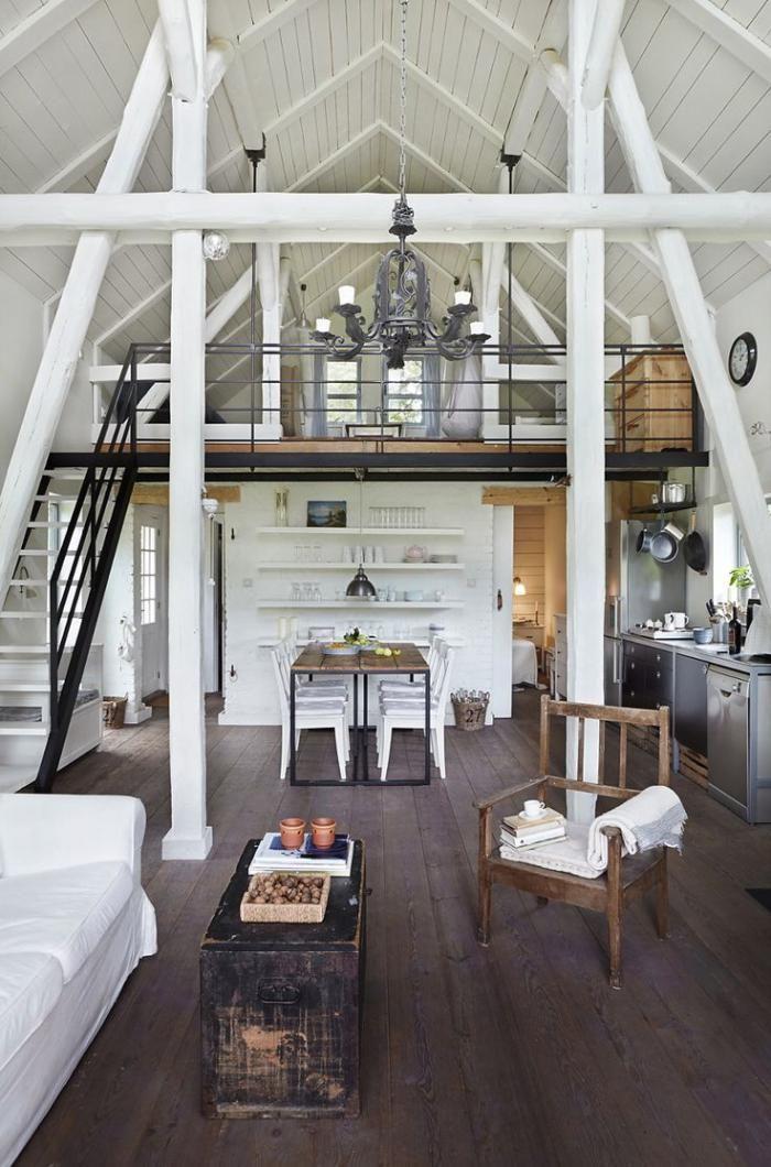 Dining Table - les vieilles granges, peinture blanche et aménagement vintage d'espace loft