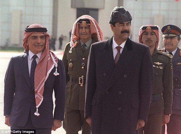 Despot: Saddam Hussein (pictured center, with King Hussein of Jordan, far left, in 1990) had a torture room built into Iraq's New York Mission building when he assumed power in 1979