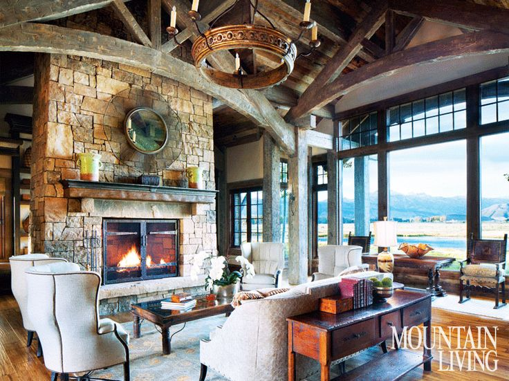 234 best living rooms images on pinterest cabin for Mountain living