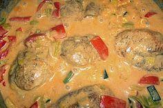 Putenmedaillons in cremiger Gemüsesauce mit Gelbreis (Rezept mit Bild) | Chefkoch.de