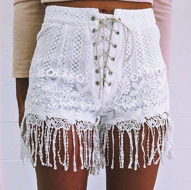 White lace shorts.