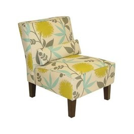 Chair With Yellow Grey Blue Accents Decorating