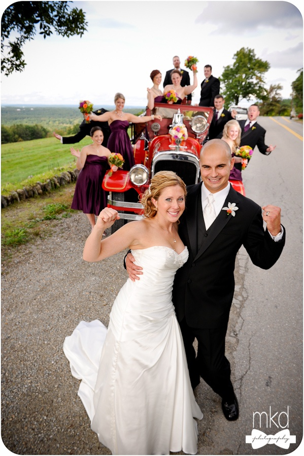 Bride And Groom Antique Fire Truck