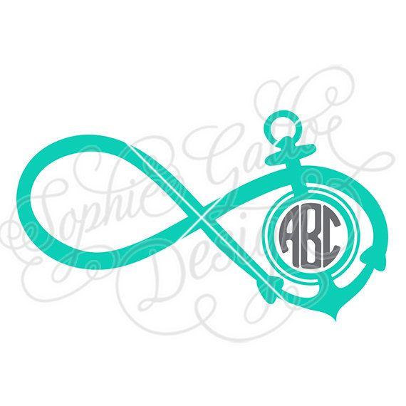 Infinity Anchor Monogram SVG DXF PNG Digital Download