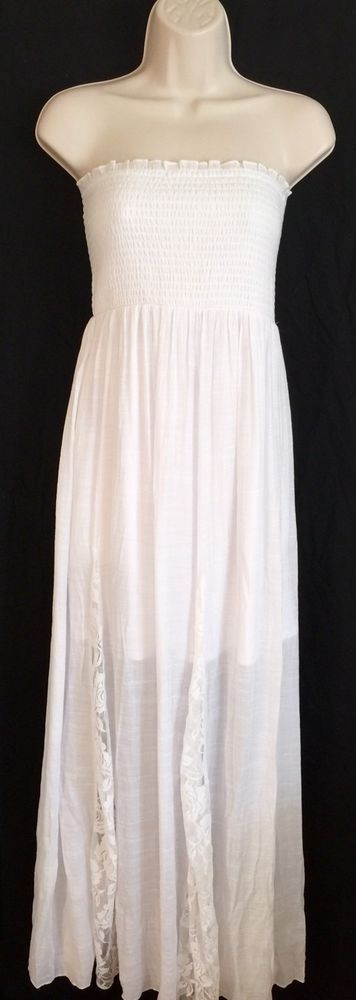 VENUS Womens Sz L Dress Lace Detailed Maxi White Swim Cover Up Smock Top Beach  | eBay