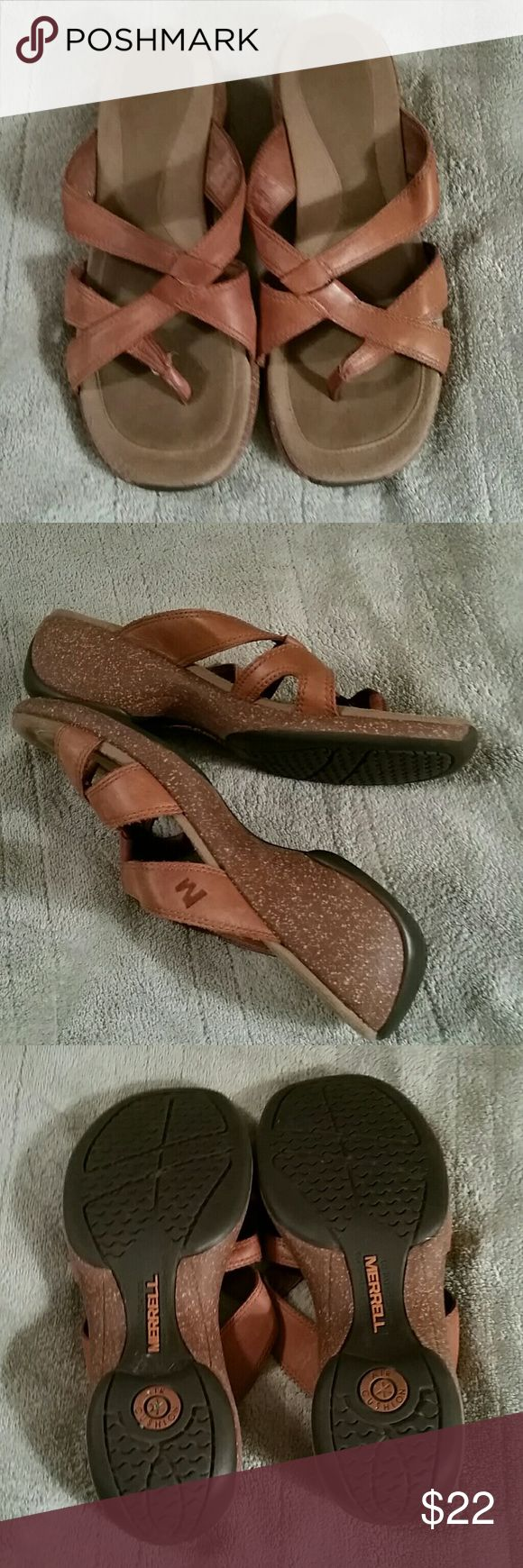 1 DAY SALE MERRILL SANDALS These cute sandals are in preloved condition.  They have some light wear to the footbed but overall in good used condition. They are slip on style , very comfortable.  The size is hard to read but they are true size 6M.  Air cushioned patent. Merrell Shoes Sandals