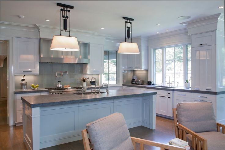 Love the lighting over the island - Transitional Kitchen with Crown Molding Frame and Panel Cabinets Gray Glass Backsplash Honed Kitchen Island - love the lighting over the island.