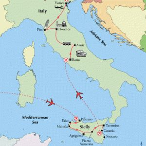 15 Day Sicily and Italy Tours - Comprehensive Italy vacation package includes Rome, Assisi, Florence, Pisa, Venice and on Sicily Includes Palermo, Agrigento, Marsala, Taormina, and Syracuse.