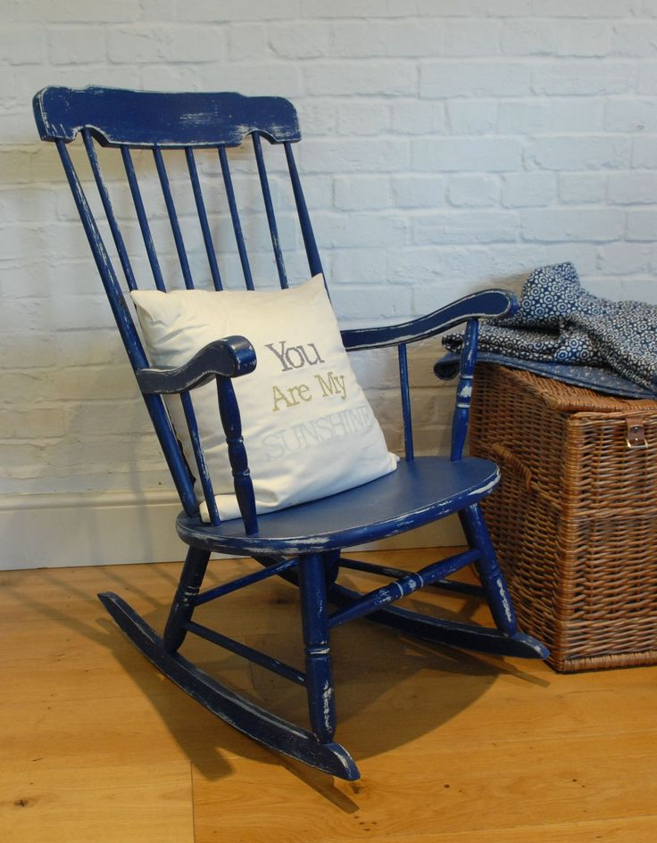 Vintage Rocking Chair In Annie Sloan S Napoleonic Blue
