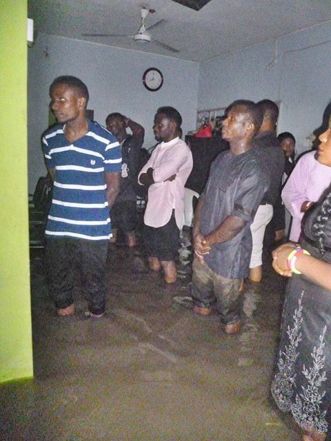 See How Members Worshipped God in Their Flooded Church in Port Harcourt (Photos)