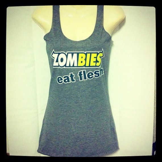 Triblend Racerback Zombies Subway Eat Flesh Funny and Humorous Valentine's Day Gift for Her Apocalypse Tank Top on Etsy, $15.99