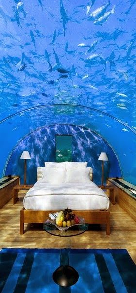 The Best Suites in the World - Conrad Maldives Rangali Island - Yes, you can fulfill this dream. This is an underwater suite that is present at Conrad Maldives Rangali Island. Only 20 feet of Indian Ocean is present above you in this suite.