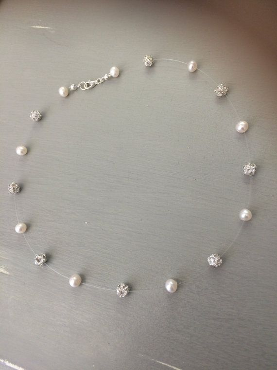Agua dulce perla y diamante ilusión collar delicado collar
