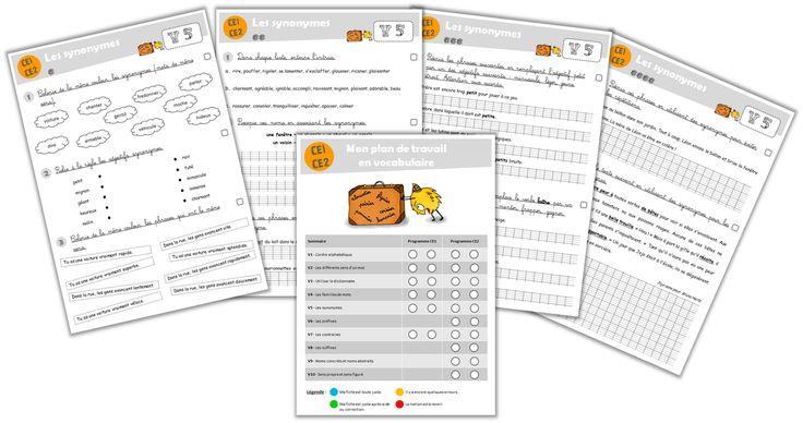 Plan de travail - Fichier de vocabulaire CE1-CE2 - Journal de bord d'une instit' débutante