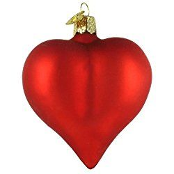 Old World Valentine's Day Large Matte Red Heart Glass Blown Ornament