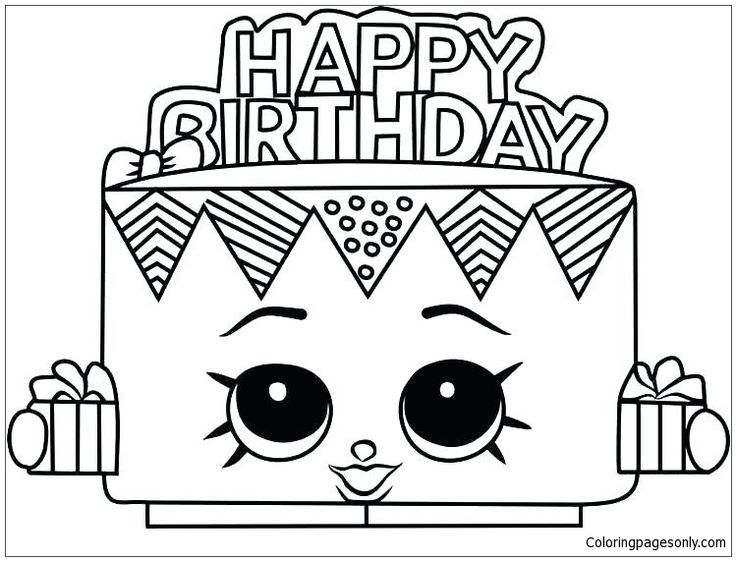 Cake Happy Birthday Shopkins Coloring Page - Free Coloring ...
