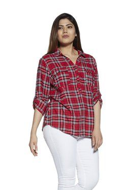 72f1658a Gia Curve by Westside Red Checkered Blouse | Healthy relationships ...