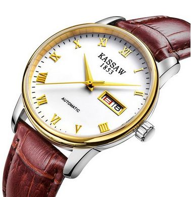 KASSAW top brand Mens Gold Casual Luxury Business Brown Leather automatic Mechanical Watches white dial roman numeral indices fashion cool gift for man