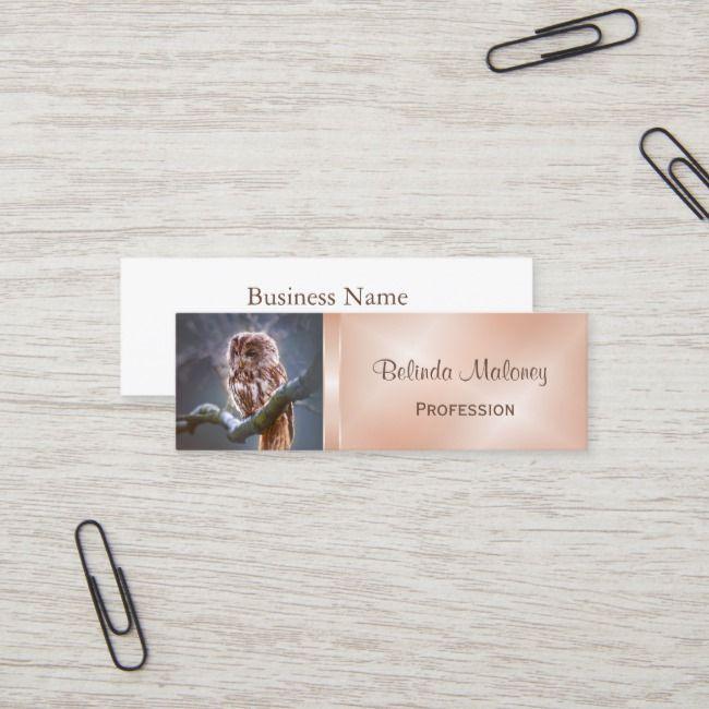 Owl Rose Gold Foil Mini Business Card Zazzle Com Rose Gold