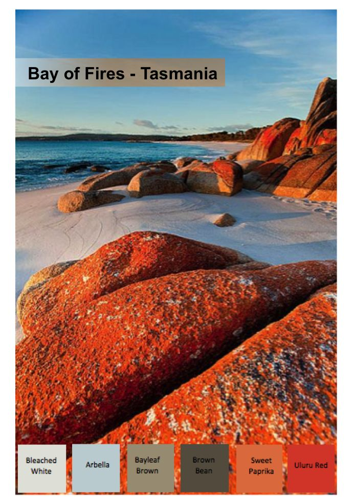 The Bay of Fires - Tasmania  This Colour Scheme is balanced with Warms and Neutrals perfect for an entertaining area