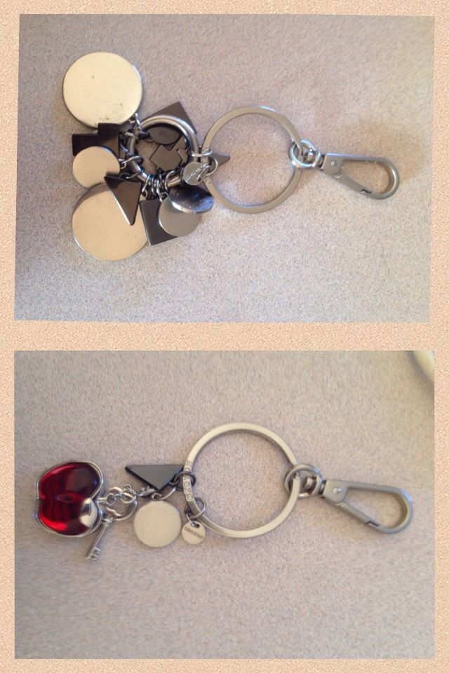 Before : Op shop find , it was a bit much!!  After : refashioned key ring muuuuuch better